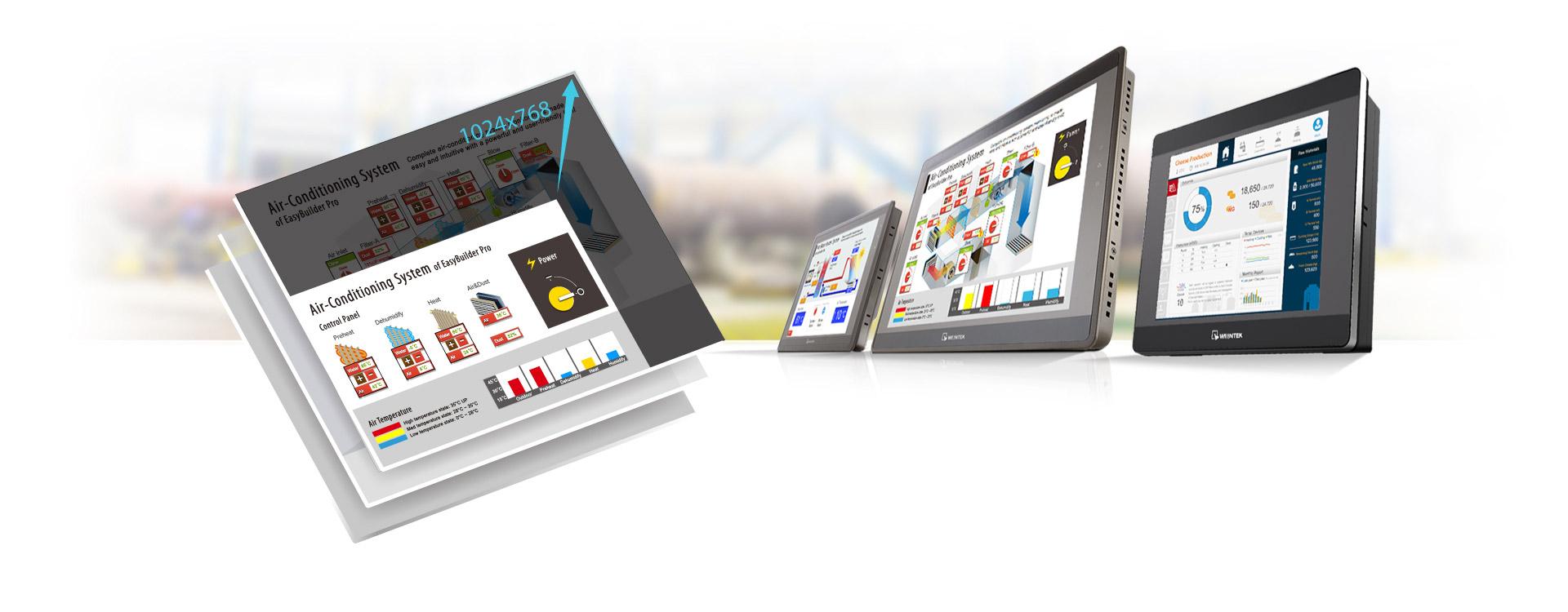 Weintek XE Serisi Büyük boyutlardaki HMI'lar en ayrıntılı bilgileri ve nesneleri görüntüleyebilir